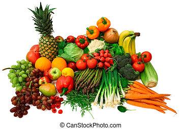friske grønsager, og, frugter