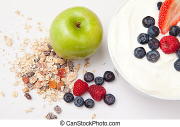 friskt ätande, med, frukter