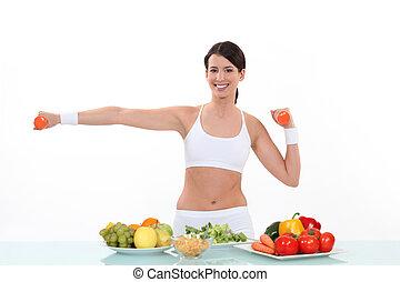 friskt ätande, och, fitness