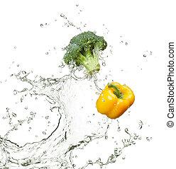 friss, brokkoli, és, paprika