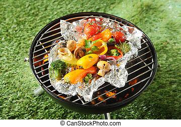 friss, egészséges, kiválasztás, közül, grillsütő növényi