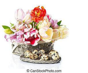 friss, eredet, tulipánok, alatt, a, kosár, noha, easter ikra