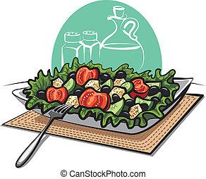 friss, görög, növényi, saláta