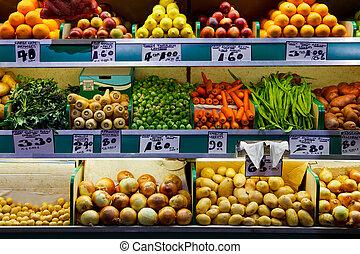 friss gyümölcs, és, növényi, piac