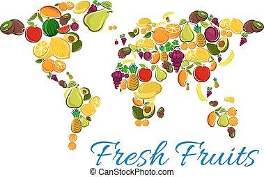friss gyümölcs, ikonok, alatt, világ térkép, alakít