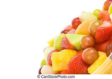 friss gyümölcs saláta, noha, copyspace