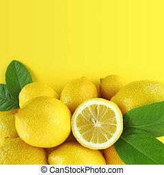 friss, háttér, citromfák