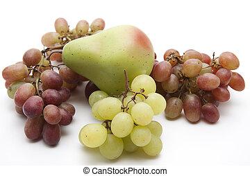 friss, körte, szőlő, bor