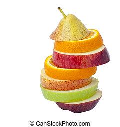 friss, különböző, gyümölcs, néhány, szelet