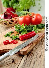 friss növényi, éles, képben látható, konyha, bizottság