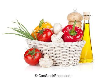 friss növényi, és, gombák, noha, olívaolaj, és, pepper shaker