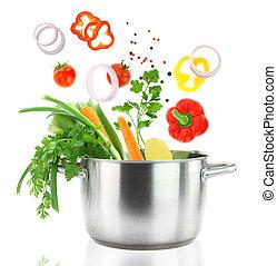 friss növényi, esés, bele, egy, rozsdamentes acél, lábas, edény
