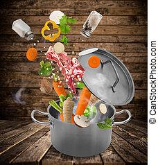 friss növényi, esés, bele, rozsdamentes acél, pot.