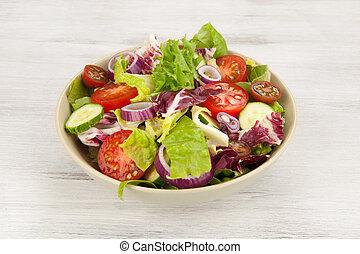 friss növényi, saláta, alatt, egy, tál
