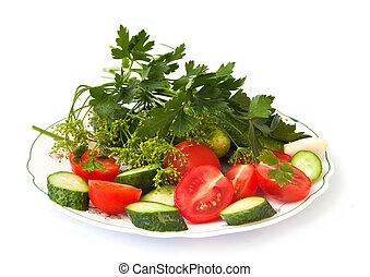 friss növényi, uborkák, paradicsom, fokhagyma, és, friss fűszernövény, elszigetelt, képben látható, egy, fehér, háttér.