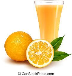 friss narancs, és, pohár, noha, lé