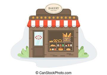 friss, pékség, products., ízletes, showcase