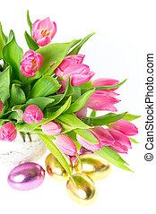 friss, rózsaszínű, eredet, tulipánok, noha, arany-, easter ikra