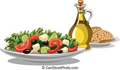friss, saláta, görög
