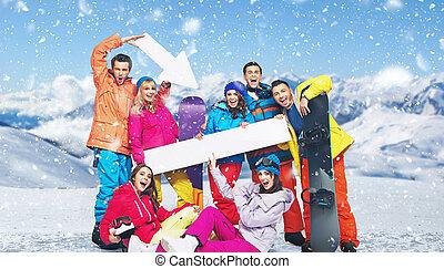 friss, snowboarers, feltevő, alatt, hó, nap