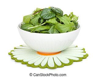 friss, zöld saláta, alatt, egy, tál