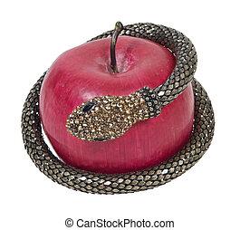 fristelse, hos, slange, og, æble
