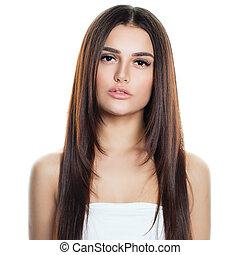frisur, brünett, gesunde, aufmachung, junger, langer, freigestellt, haar, white., frau, modell