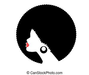 frisur, freigestellt, vektor, afrikanischer amerikaner, schwarz, modell, frau, silhouette., profil