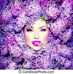 frisur, mode, schoenheit, lila, modell, blumen, m�dchen