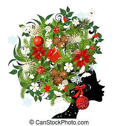 frisur, modisch, dein, design, m�dchen, weihnachten