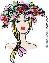 frisyr, design, kvinnlig, blommig, stående, din
