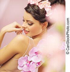 frisyr, kvinna, sensuell, inbillning