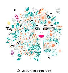 frisyr, kvinna uppsyn, design, blommig, din
