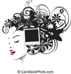 frisyr, med, polaroidkamera