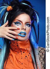 frisyr, mode, nails., skönhet, makeup., portrait., manikyrera, flicka