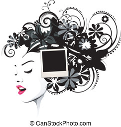 frisyr, polaroidkamera