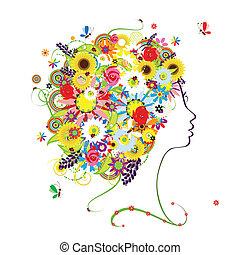frisyr, profil, design, kvinnlig, blommig, din