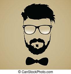 frisyr, skägg mustasch, glasögon