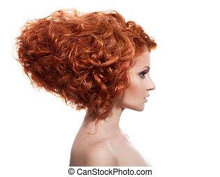 frisyr, skönhet, updo, portrait., bakgrund, vit