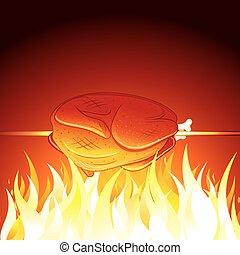 frit, image, chaud, vecteur, préparer, poulet, flame.