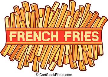 frita, francês, etiqueta