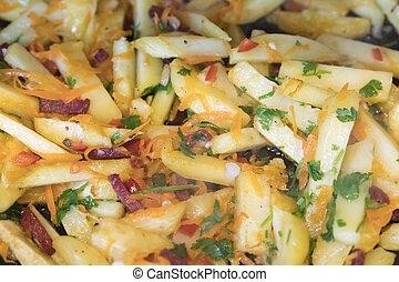 fritado, batatas, com, legumes, e, sausages., vista superior