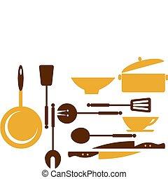 fritar, cozinhar, -1, ferramentas, cozinha