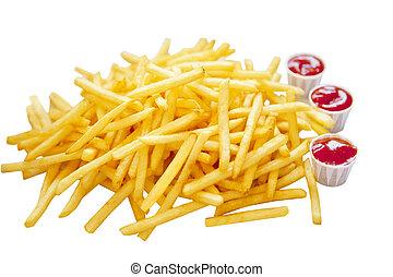 fritar, francês, montão