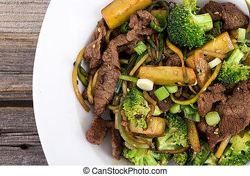 fritar, movimento, brócolos, carne