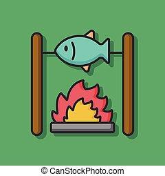 fritar, peixe, vetorial, ícone