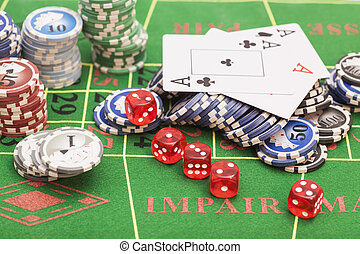 frites, casino, vilt, spel, groene, dobbelstenen, kaarten, tafel
