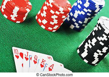 frites, gamblings, kaarten