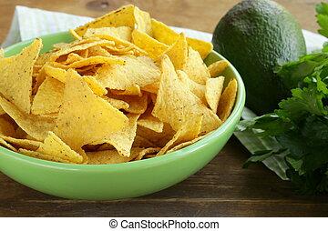 frites, groene, koren, kom, (nachos)