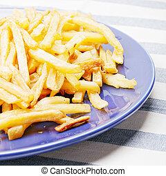 frites, pommes terre, sur, plaque